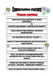 English Worksheet: Conversation starters on parties