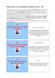 **   Would you pass the US citizenship test?   **   THE MOST IMPORTANT FACTS ABOUT THE USA  **   (Question cards 21 – 30)