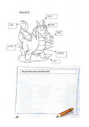 English Worksheets: Dragon coloring page