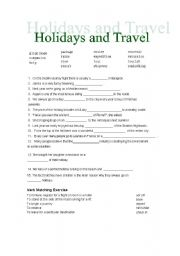 vocabulary worksheets travelling