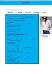 English Worksheet: Again by Lenny Kravitz