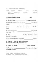 English worksheets: TV words for everyday conversation Fill In The