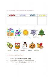 English Worksheet: FOUR SEASONS