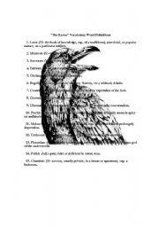 english worksheets the raven lesson. Black Bedroom Furniture Sets. Home Design Ideas