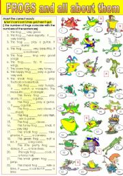 English Worksheet: HOW MUCH DO YOU KNOW ABOUT FROGS? an easy ws for my ss  to complete during the summer time =)