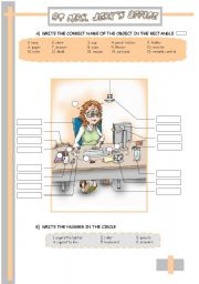 English Worksheet: THE OFFICE: THERE + BE// PREPOSITIONS