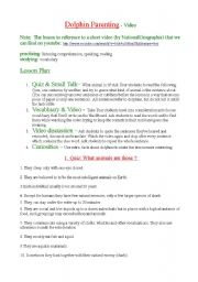 English Worksheet: Dolphin parenting - listening comprehension - video study