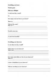 English Worksheet: Describing your house/classroom