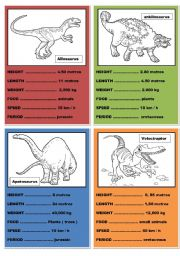 English Worksheets: Dinosaurs cards