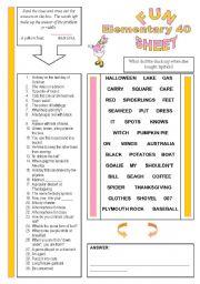 English Worksheets: Fun Sheet Elementary 40