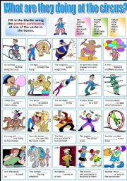 English Worksheet: WHAT ARE THEY DOING AT THE CIRCUS? -PRESENT CONTINUOUS