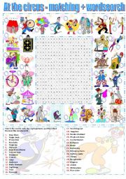 AT THE CIRCUS - MATCHING EXERCISE + WORDSEARCH