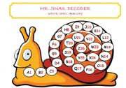English Worksheet: MR SNAIL DECODER - writing, spelling and reading in one activity!