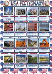 English Worksheet: USA pictionary plus written practice of the attractions� names