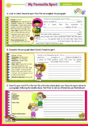 English Worksheet: Writing Series (10)  - My Favourite Sport - 2nd lesson of 45 minutes on the topic for Upper elementary or Intermediate students