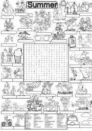 English Worksheet: Wordsearch SUMMER