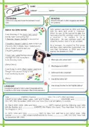 English Worksheet: John Lennon (1  / 6 / 09)