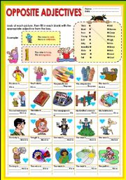 English Worksheet: Opposite Adjectives + KEY