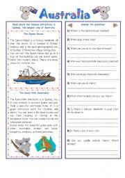 English Worksheet: ENGLISH-SPEAKING COUNTRY (9) AUSTRALIA (2 pages)