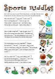 English Worksheets: Sports Riddles