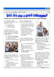 English Worksheet: Quiz: Are you a good colleague?