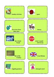 English Worksheet: ** Vocabulary revision and brainstorming game # 3**