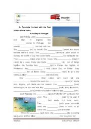 English Worksheet: A holiday in Portugal