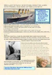 English Worksheets: The Last Titanic Survivor (an article + exercises)