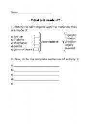 English worksheet: is/are made of