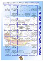 Present Perfect Continuous + Simple BOARDGAME (40 examples, + bw PRINTER FRIENDLY, EDITABLE) ((3 PAGES)) - B1 level