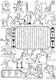 English Worksheet: Wordsearch JUNGLE ANIMALS