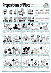 English Worksheet: Prepositions of Place (2)