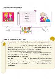 English Worksheet: family relationships (2/3)