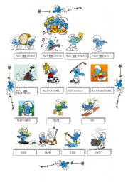 English Worksheet: SPORTS AND ACTIVITIES WITH THE SMURFS