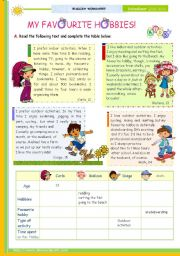 English Worksheet: The 1st 45-minute-lesson (of 2) on the topic My Favourite Hobbies -- Reading Comprehension for Upper Elementary and Lower intermediate students