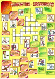 English Worksheets: Homonyms - crossword