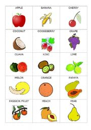 English Worksheet: Fruit, to be, articles and pronouns - game cards
