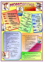 English Worksheets: Homonyms
