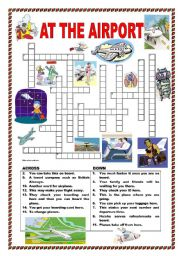 English Worksheet: At the airport - crossword