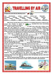 English Worksheets: Travelling by air - A gap-fill activity