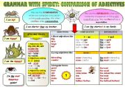 English Worksheet: EASY GRAMMAR WITH SPIDEY! - COMPARISON OF ADJECTIVES - FUNNY GRAMMAR-GUIDE FOR YOUNG LEARNERS IN A POSTER FORMAT (part12)