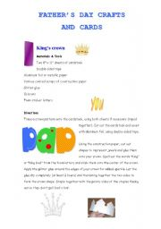 English Worksheet: Father´s day craft and cards ( templates are included )