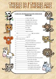 Complete the sentences using there is or there are