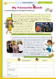 English Worksheet: The 1st 45-minute-lesson (of 2) on the topic My Favourite Band -- Reading Comprehension for Upper Elementary and Lower intermediate students