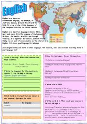 English Worksheet: The importance of learning English