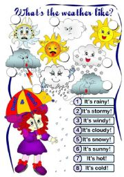 English Worksheet: What´s the weather like? (BW on page 2)