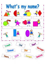 English Worksheet: SHAPES CUT AND PASTE-PART 2