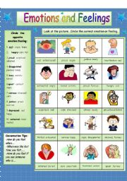 English Worksheet: Emotions and Feelings