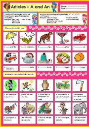 English Worksheet: Articles - A and An