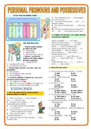 English worksheet: PERSONAL PRONOUNS (SUBJECT-OBJECT) POSSESSIVE ADJECTIVES AND PRONOUNS